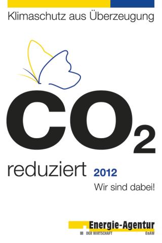 Energie-Agentur Zertifikat : CO2 reduziert, Wir sind dabei!